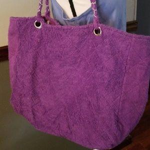 Handbags - PURPLE FURRY TOTE